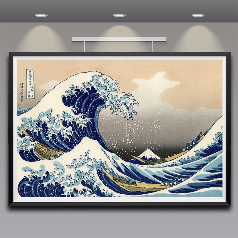 Peinture art Katsushika Hokusai Grande Vague de Kanagawa Vue Sur le Mont Fuji Art Silk Affiche Imprimer Grande Taille Livraison Gratuite