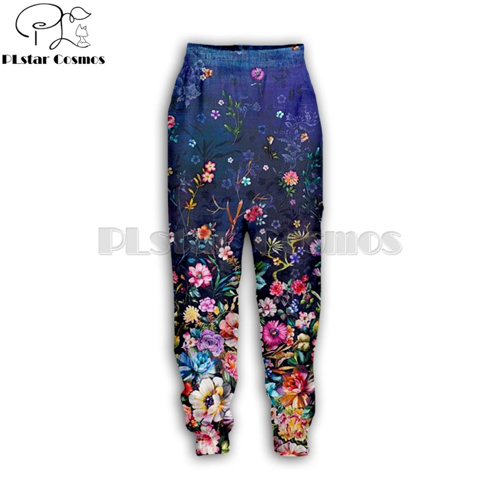 PLstar Cosmos Brand 2019 New Fashion Male/Female Joggers Pants Painting Flowers 3D Printed Streetwear Casual Trousers HY-0879