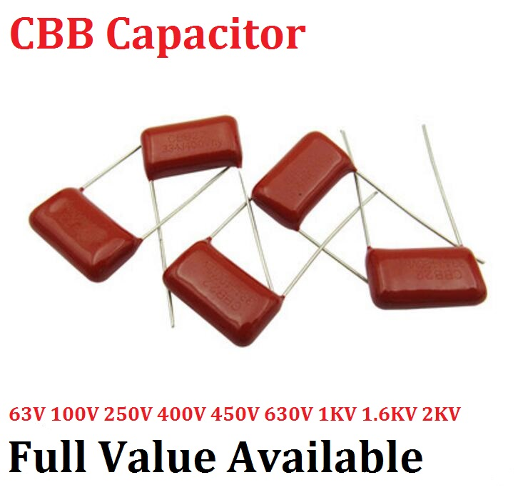 10pcs CBB Metallized Polyester Film Capacitor 630V 102J 1NF Pin 10MM