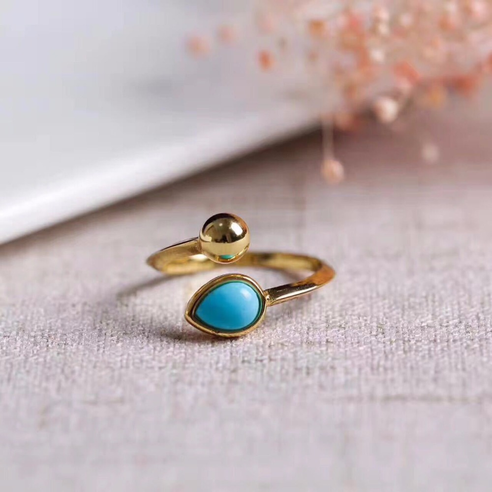 Original Handmade Natural Turquoise 925 Sterling Silver Ring For Women Glod Colour Gemstone Silver Ring For