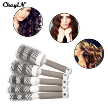 5 Pcs 5 Size 19,25,32,45,53mm Round Hair Brush Ceramic Hairbrush Hair Comb for Hair Styling Drying With Non-Slip Handle -S4242