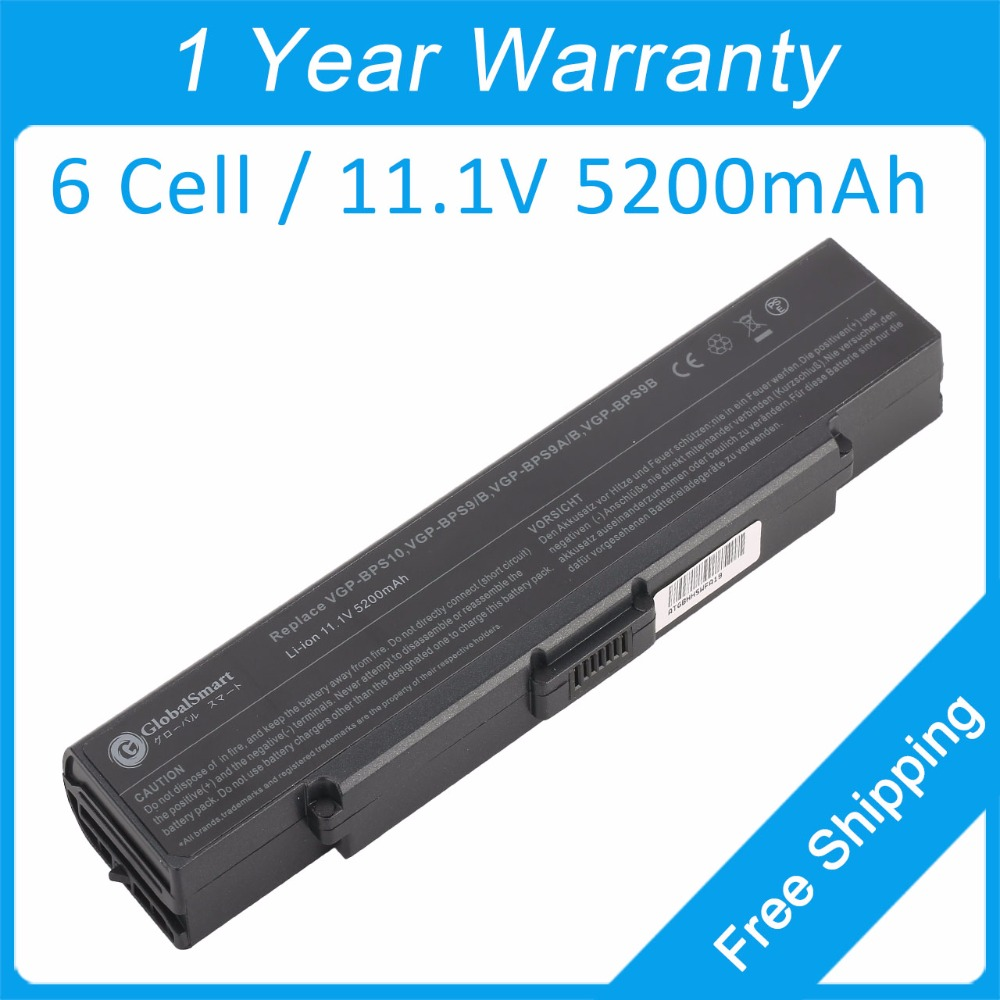 New 6 cell laptop battery VGP-BPL9 VGP-BPS9/S for sony VGN-AR520E VGN-NR260E VGN-CR13/L VGN-AR53DB VGN-NR280 VGN-CR13/P