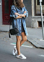 Women's Ripped Denim Long Basic Coat Autumn Loose Jeans Overcoat Ladies Casual Street Style Holes Baggy Jacket Outwear