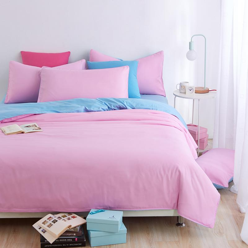 home textiles light pink blue color bedding sets 3 4pcs king queen full twin size duvet cover. Black Bedroom Furniture Sets. Home Design Ideas