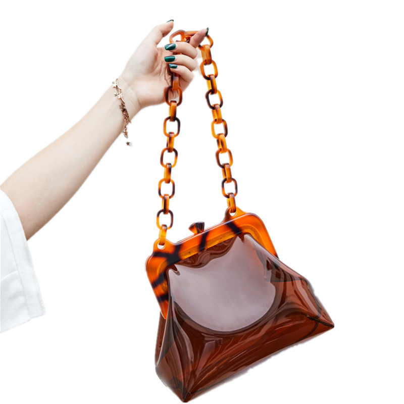 Mode sac Transparent Transparent Pvc plastique seau sac acrylique chaînes Vintage fête embrayage femmes été épaule sac à main 2019
