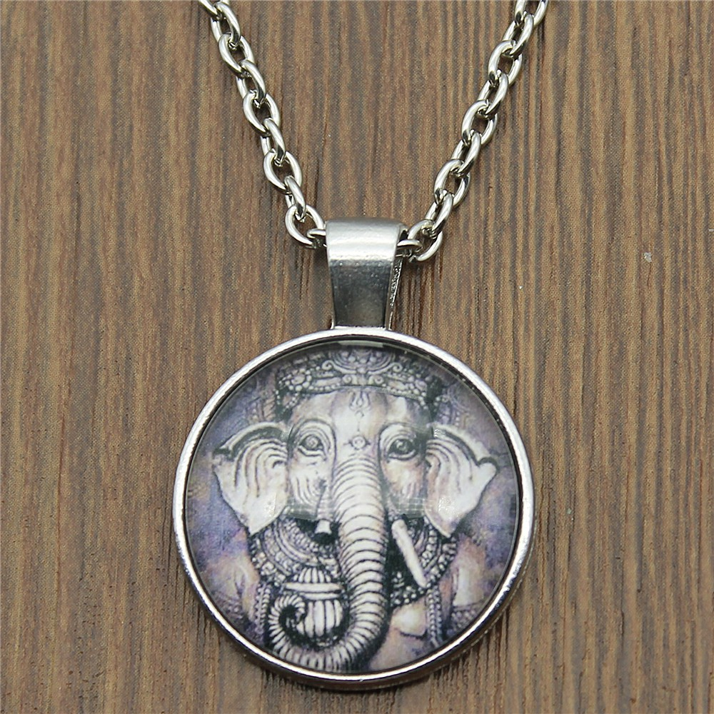 Dropshipping Vintage 2 Colors 25mm Round Glass Cabochon Ganesha Elephant Pendant Necklaces For Women