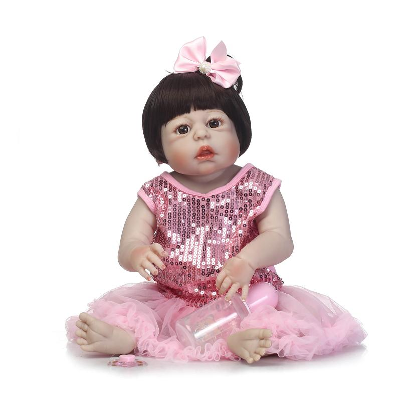 fashion 56 cm NPKDOLL Silicone reborn baby dolls 22'' vinyl sexy girl doll mini born doll toys with sparkling dress BEBE for mom pink wool coat doll clothes with belt for 18 american girl doll