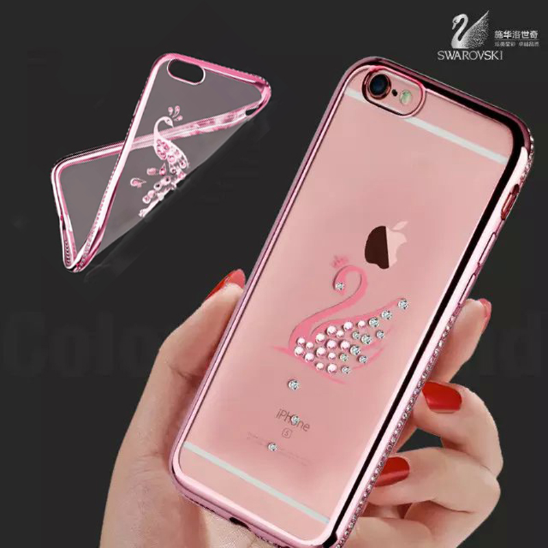 3D swarovski Crystal Diamond Bling Transparent Electroplate Back Case Cover  For Apple iPhone 6 6s plus 4.7 5.5 inch Phone Bag 3ced2baa8