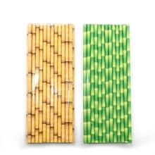25Pcs/Set Paper Straws Yellow Green Bamboo Pattern Wedding Birthday Party Supplies Beverage Bar Accessories