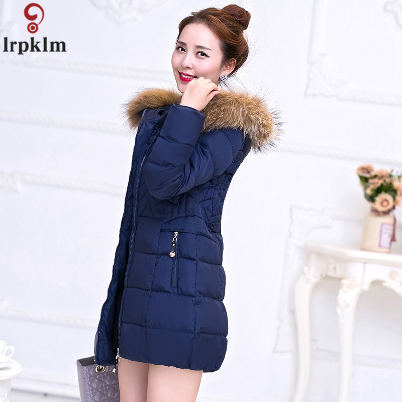 Women's Cotton Padded Jackets Long Winter Coat For Women Korean Thickened Hooded Parkas 2018 New Fake Fur Collar Clothes LZ956
