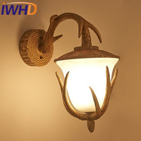 IWHD Antler Resin Arandela Glass Vintage Retro Wall Lamp LED American Style Loft Industrial Sconce Wall Light Home Lighting