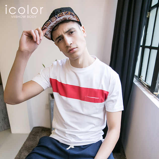 334adfd8b4 ICOLOR Casual Sleepwear O-Neck Short Sleeve Contrast Color Sleepshirt Men  Soft Lounge