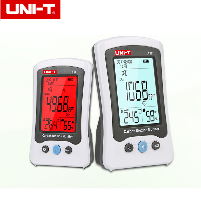 UNI-T A37 Digital Carbon Dioxide Detector Laser Air Quality Monitoring Tester CO2 Detection 400PPM~5000PPM For Home pm2 5 detector home indoor laser haze monitoring air quality monitoring instrument