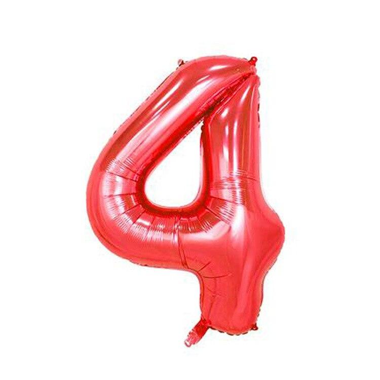 32 дюйма розовый синий 40 дюймов красный фольгированный шар большой гелиевый номер 0-9 Globo день рождения для детей Вечеринка мультфильм шляпа Декор - Цвет: red 4