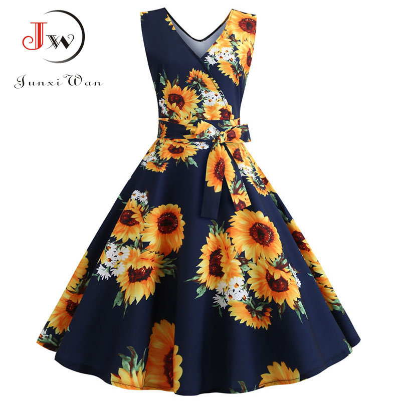 Sexy Retro Floral Print Dress 2020 Women Summer Vintage V Neck Party Dress 50s 60s Pin Up Rockabilly Dress Plus Size Robe Femme 6