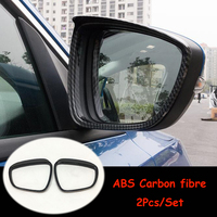ABS Chrome/Carbon fibre For Ford Focus 2019 Car rearview mirror block rain eyebrow Cover Trim accessories Car Styling 2Pcs