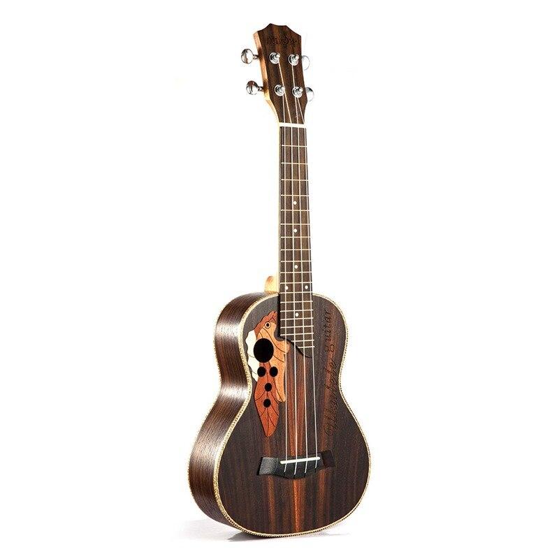 Ukulélé de Concert de Soprano chaude Ukelele d'uku de palissandre de 23 pouces avec 4 Instruments de musique de guitare de mini Hawaii de ficelle