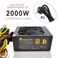 Asic Bitcoin New Gold Power 2000W PLUS ETH Power Supply ATX Mining Machine Supports 8 GPU