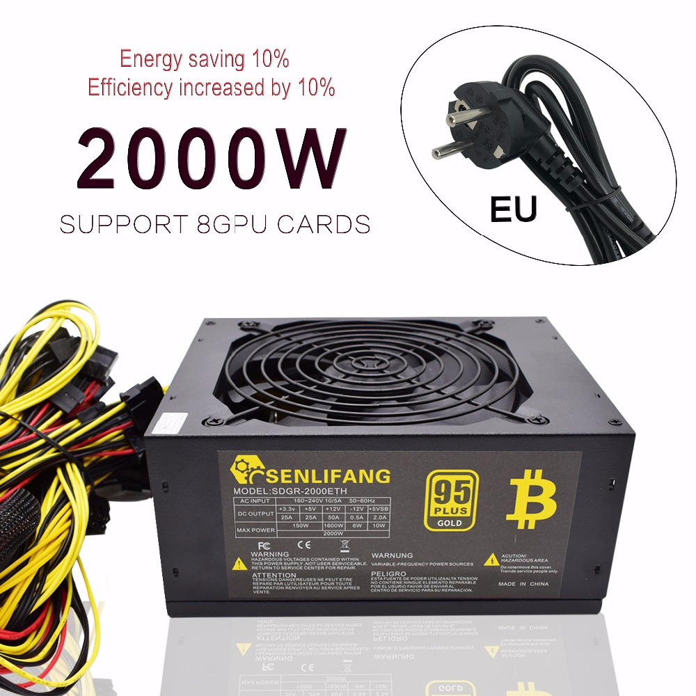Asic bitcoin novo Ouro Máquina de Mineração poder 2000 W PLUS ETH ATX fonte de alimentação suporta 8 GPU suporta cartões de livre grátis