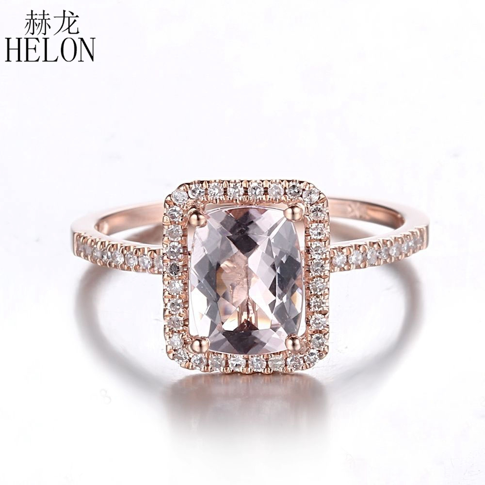 HELON Solid 14K Rose Gold 8x6mm Cushion Cut 1.12ct Morganite Pave 0.2ct Natural Diamonds Fine Gemstone Ring For Women's Jewelry