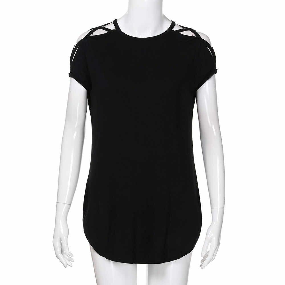 Feitong 夏固体冷 O-ネックブラウスファッション女性チュニック Tシャツトップ女性シャツカジュアル半袖ブラウス女性 Blus