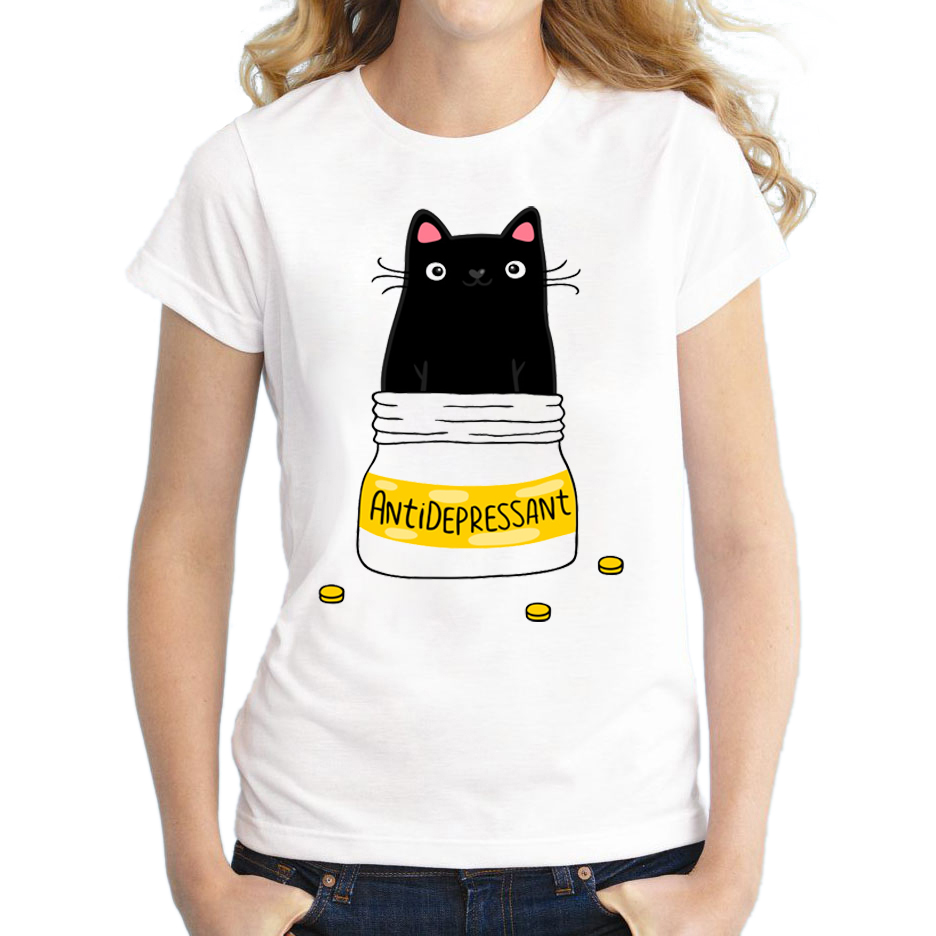 Wholesale Summer doodle coffee cat Shirts Cute Cat T Shirt Women O