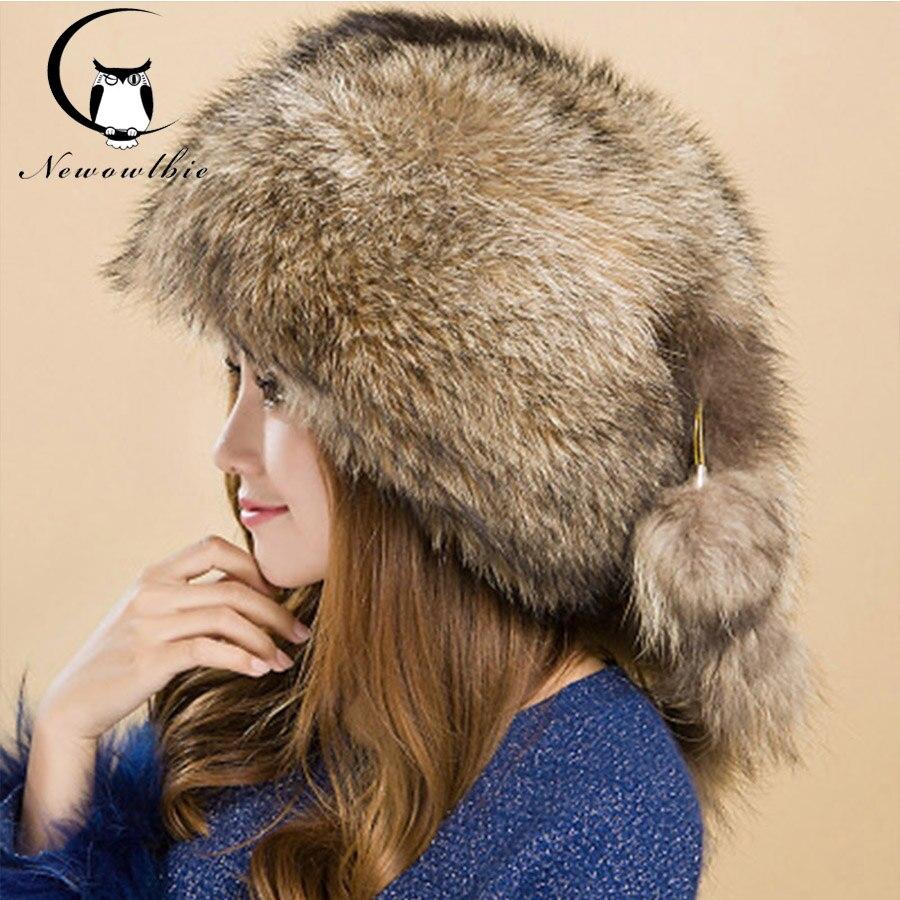 Модная женская зимняя кожаная соломенная шляпа с лисой Maubere, женская шапка из меха енота, зимняя стильная теплая и холодная шапка