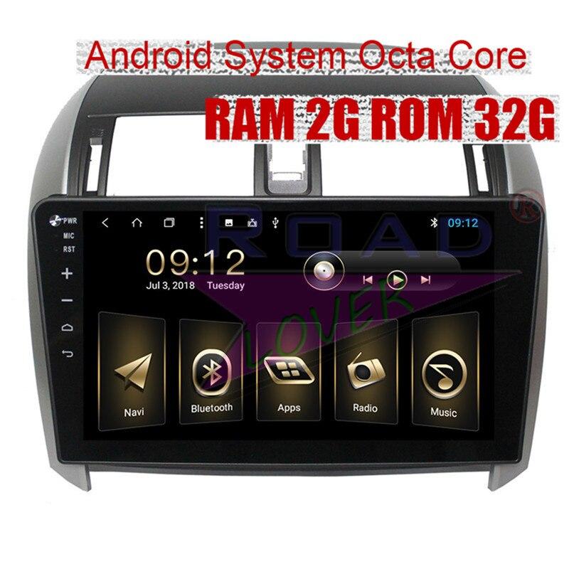 Roadlover Android 7.1 Autoradio Lecteur Pour Toyota Corolla 2007 2008 2009 2010 2011 2012 2013 Stéréo GPS Navigation 2 din NO DVD
