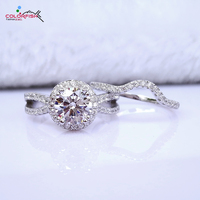 COLORFISH Luxury 1 28 Ct Round Halo Engagement Ring Set For Women Wedding Real 925 Sterling
