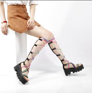 Attantou Luxury Lace-up Flat Knee High Sandals Boots Ladies Rome Style Platform Sandals Fashion Casual Long Sandals BootsAttantou Luxury Lace-up Flat Knee High Sandals Boots Ladies Rome Style Platform Sandals Fashion Casual Long Sandals Boots