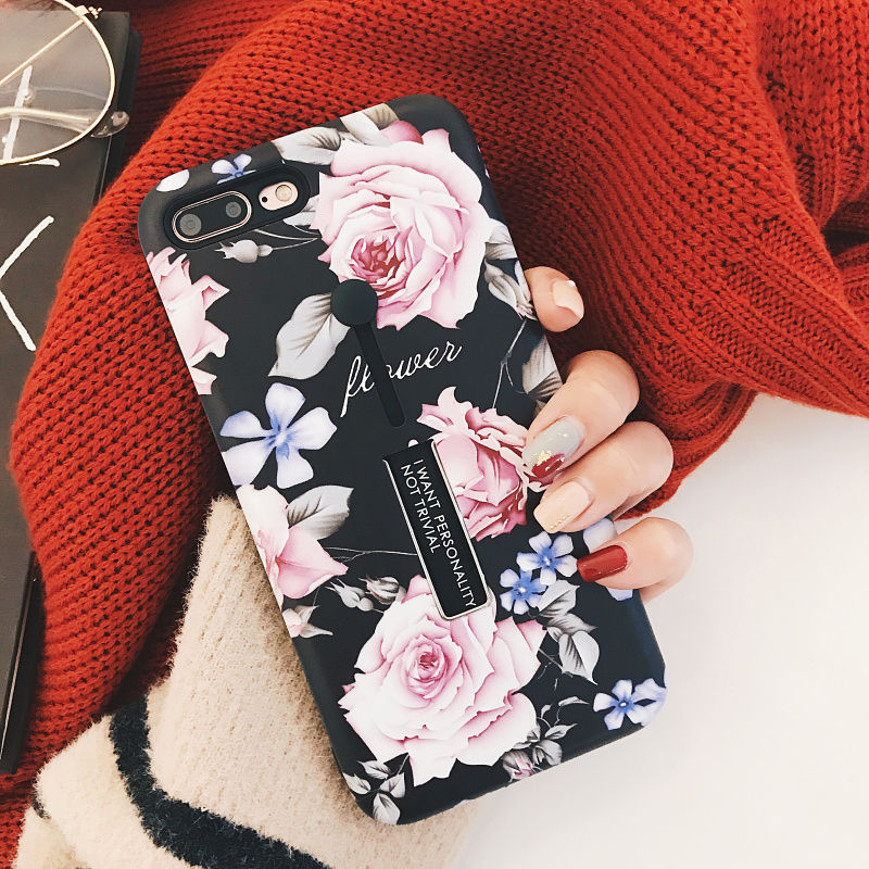 Retro Classical Flowers Phone Iphone X 6 6S Plus 7 7Plus 8 8Plus Soft TPU Holder Stand Protection Back Cover