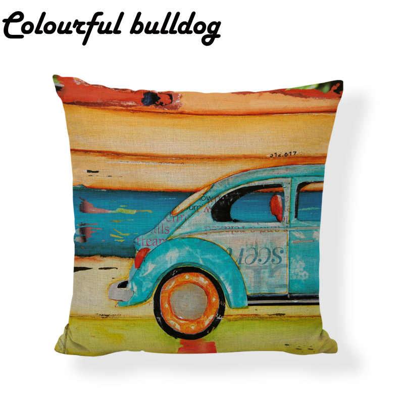 Funda de cojín con diseño de coche Chic desgastado Kart Bus faro pintura al óleo elementos de impresión funda de almohada para el hogar silla sofá Decoración