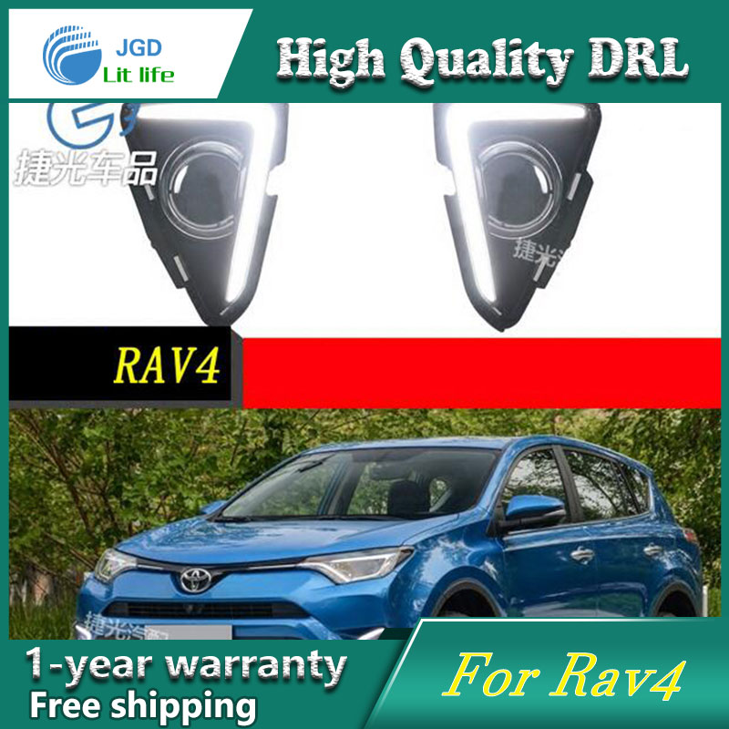 цена на high quality daytime Running Light Fog light High Quality LED DRL For Toyota RAV4 2016 fog lamp 12V 6000K 2pcs/set