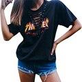 Thrasher camisetas Camiseta de Las Mujeres Femme Tops Lace Up Short Camisa de manga Verano de Las Señoras Camisas Blusas de Talla grande Negro LJ8166M