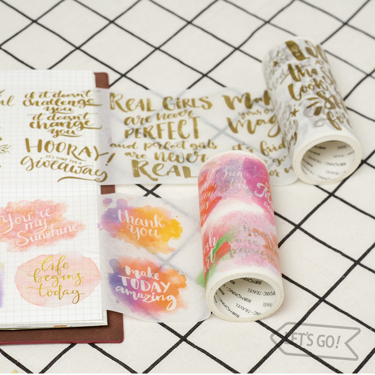 купить 2PCS/LOT gift watercolor time christmas gift packaging 9cm*5m decoration Paper tape masking tape washi tape недорого