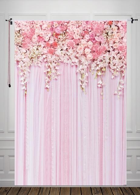 HUAYI Pink Flowers Background For Wedding Newborn Backdrop Photography Studio Prop Vertical D