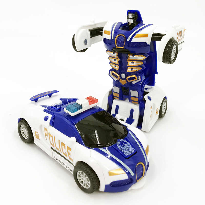 Police Car Pull back Bump into Transformation Deformation Robot 2 In 1 Car Model Vehicle Boys Toys Gift