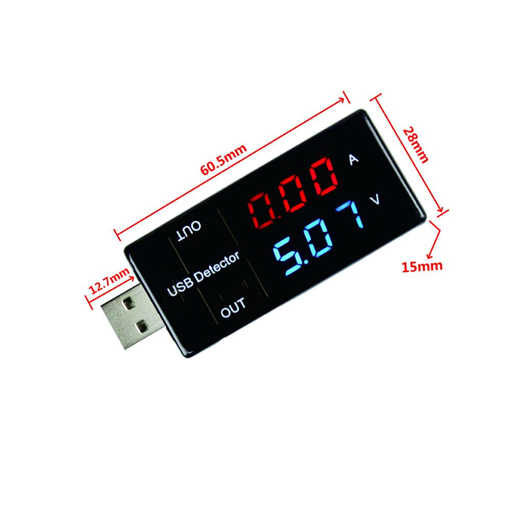 USB Current Voltage Charging Detector Mobile Power Current and Voltmeter Ammeter Voltage USB Charger Tester Double Row Shows вольтметр usb usb digital usb mobile power charging current voltage