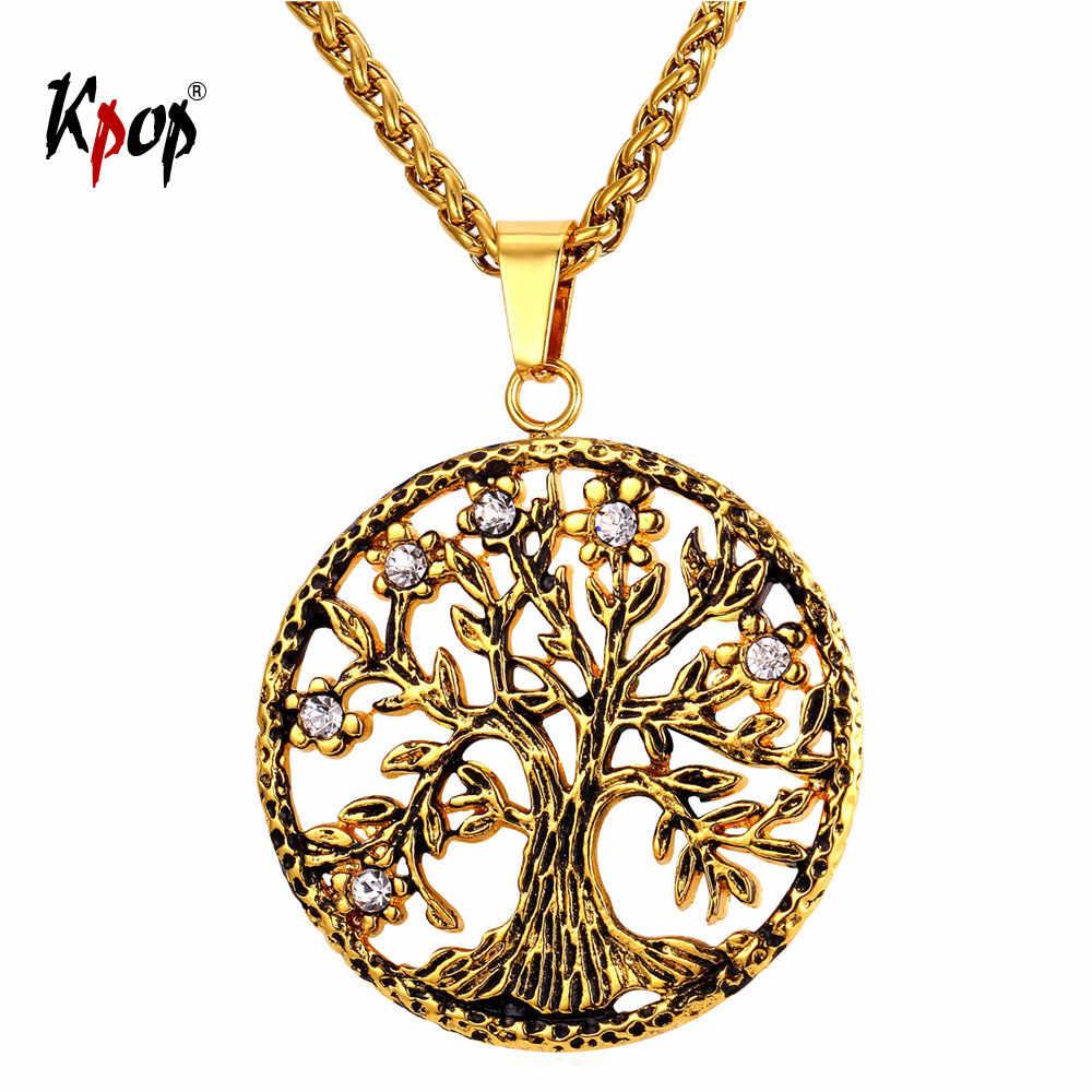 Kpopต้นไม้แห่งชีวิตสร้อยคอU Nisexเครื่องประดับของขวัญสำหรับเธอสแตนเลสสีทองรอบต้นไม้จี้คอผู้หญิงผู้ชายP2146