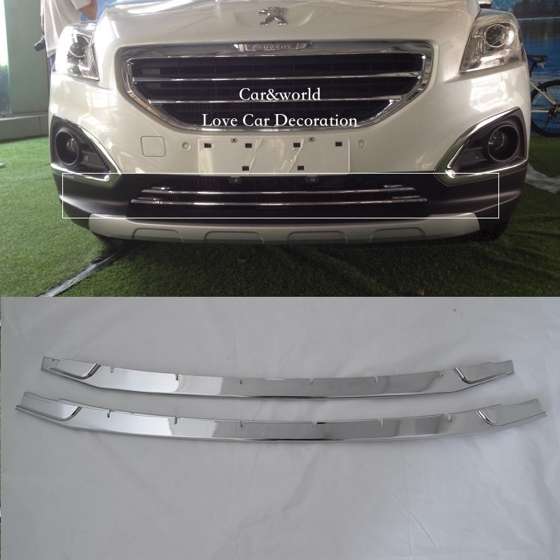 For Peugeot 3008 Front Bumper Down Grilles Cover Center Grille Trim Decoration 2013 2014 2015 2016 ABS Chrome Car Accessories for peugeot 301 2013 2014 2015 2016 car styling cover detector sticker abs front license grille frame chrome trim strips 1pcs
