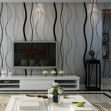 黒グレーストライプ壁紙現代の寝室の湾曲したストライプのためのリビングルームのテレビの背景