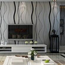Schwarz grau Gestreiften Tapeten Moderne Schlafzimmer Gebogene Streifen Wand Papierrolle Für Wohnzimmer TV Hintergrund