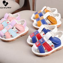Chivry 2019 Summer Kids Soft Cartoon Toddler Boys Girls Sandals Sport PU Leather Infant Baby First Walk Shoes Beach