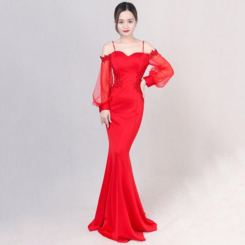 Élégant rouge coton femmes Sexy Robe De mariée De mode pas cher robes De beauté Robe De soirée Robe De soirée avec des manches longues