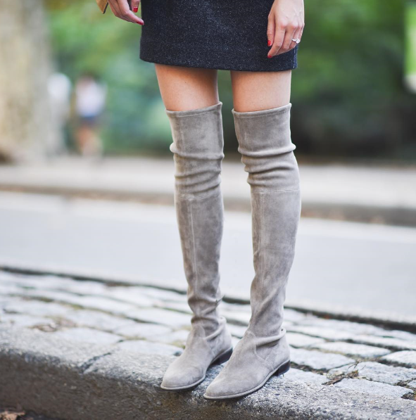 Roni Bouker Suede Leather Woman Fashion Flat Heel Thigh High Shoes Plus Size 35 42 Ladies Autumn Winter Over the Knee Boots