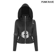 Gothic PU Elastic Sweater Rib Fabric Zipper Rope Slim Fit Jacket Short Hat Cardigan lady Coat Hooded Outwear PUNK RAVE WY-903ZDF