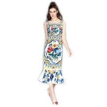 2016 High Quality Summer Newest Cute Style Square Collar Sleeveless Flowers Print Elegant Slim Fishtail Short Dress Women