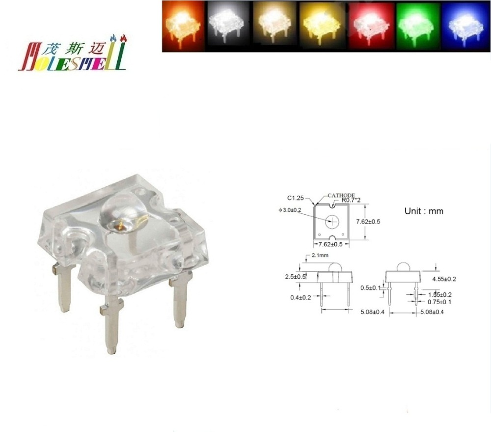 Diodes 1000pcs X Yellow Red Warm White Jade Green Blue Pink Water Clear Led Piranha Square Flat Top Super Flux Light Diode Led