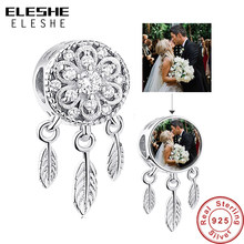 ELESHE Custom Photo 925 Sterling Silver Dream Catcher Holder Beads fit Pandora Charm Bracelet Necklace DIY Personalized Jewelry(China)