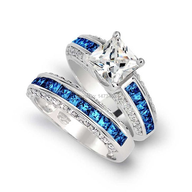 Luxury Trendy Engagement 10KT White Gold Filled Blue sapphire simulated Diamond Wedding Band Ring set Sz 5-11 gift